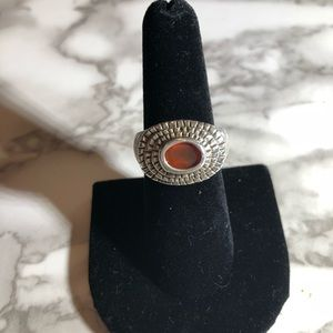 Size 7 sterling textured ring with red stone